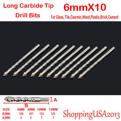 Brick 6mm Glass 6 Pieces Plastic and Wood Tungsten Carbide Tip Autoly Drill Bit Set for Tile,Concrete