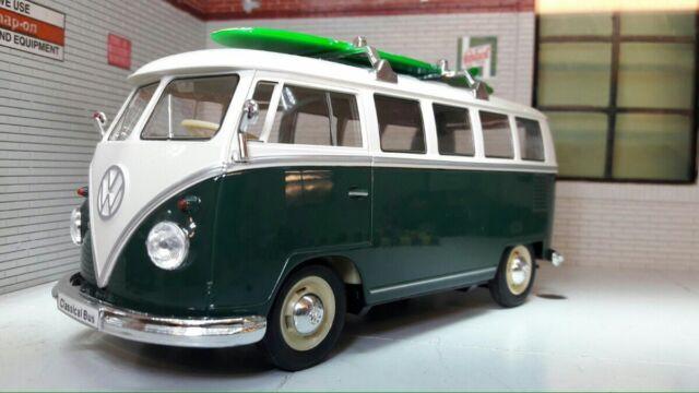 VW Teilung 1963 T1 grün Zelter Surfer Bus 1:24 Maßstab Druckguss Modell 22095