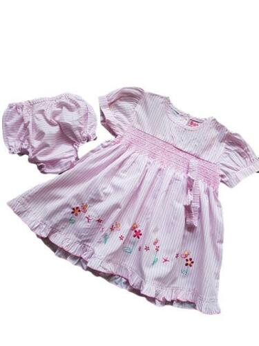 NEW BABY GIRLS TRADITIONAL STRIPE DRESS KNICKERS HEADBAND OUTFIT 3-6-9-12 MONTHS