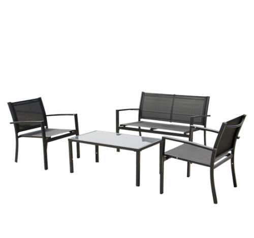 4PCS Outdoor/Indoor Garden Patio Seat Lawn Steel Frame Chair Sofa Furniture Set