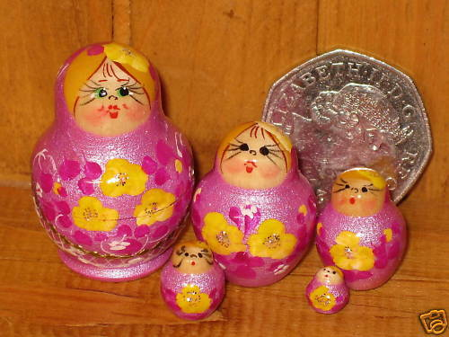Russian Miniature Nesting doll House 5 tiny LILAC Matryoshka