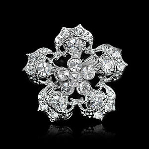NEW-SILVER-DIAMANTE-FLOWER-RHINESTONE-BROOCH-BROACH-PIN-COSTUME-JEWELLERY-GIFT