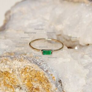 Baguette Diamond Emerald Wedding Ring 14k Yellow Gold Over Jewelry Birthday Gift