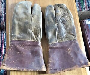 Vintage Leather Flying Gloves Mittens Gauntlets Motorcycle Artillery Despatch