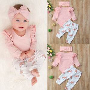 dee6be198 Newborn Baby Girl Clothes Romper T-shirt Top+Pants Leggings Flamingo ...