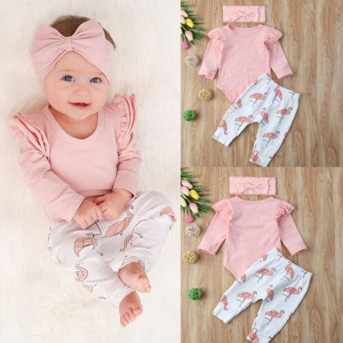 Newborn Baby Girl Clothes Romper T-shirt Top+Flamingo Pants Leggings Outfits Set