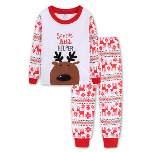 4ae86ea219 Details about UK Kids Boys Girls Christmas Pyjamas Xmas Nightwear Sleepwear  Pajamass PJs Sets