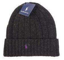 Polo Ralph Lauren Gray Wool Blend Knit Cuff Knit Beanie Purple Pony Mens NWT