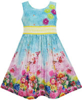Girls Dress Blooming Rose Garden Flower Print Sleeveless Blue Size 4-12