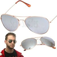 Mens Gold Metal Aviator Sunglasses With Mirror Lens Classic Vintage Shades