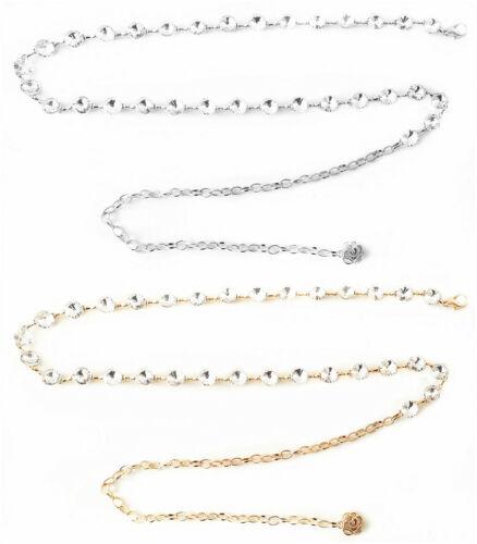 Damen Gürtel Kette Gürtelkette Kleine Runde Diamanten Gold Silber ZSP-19152