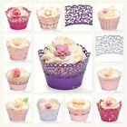 12 Pink Purple Lilac Cupcake Wrappers - Decorations Wraps Wedding Mini Cake