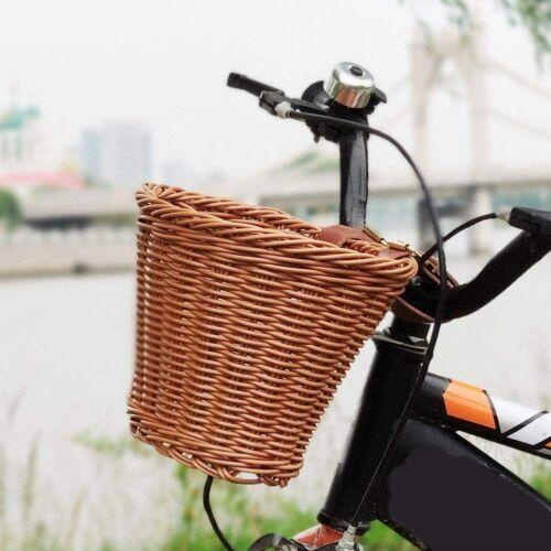 Wicker D-Shaped Hand-Woven Bike Storage Basket Kids Bicycle Front Handle Basket
