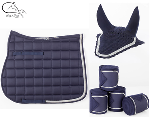 Navy USG baroness Quilted Saddlecloth with Matching Fly Veil and Bandages