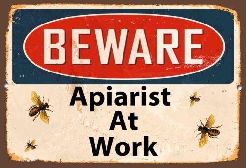 Beware Apiarist bei der Arbeit Metallschild Vintage Stil Honig Wand Bees