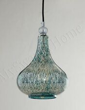 Blue Green MERCURY GLASS Mini Pendant Hanging Light Norbello NEIMAN MARCUS Aqua