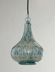 blue green mercury glass mini pendant hanging light 87867