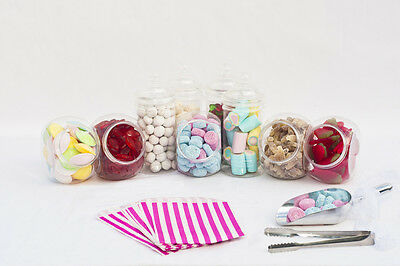 Plastic Sweet Jars - Tongs & Bags Candy Bar Buffet Kit Wedding Party Pick & Mix