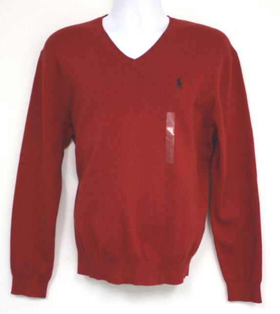 3f1fbf715 Polo Ralph Lauren Men s Large 100 Pima Cotton Red Sweater V-neck for ...
