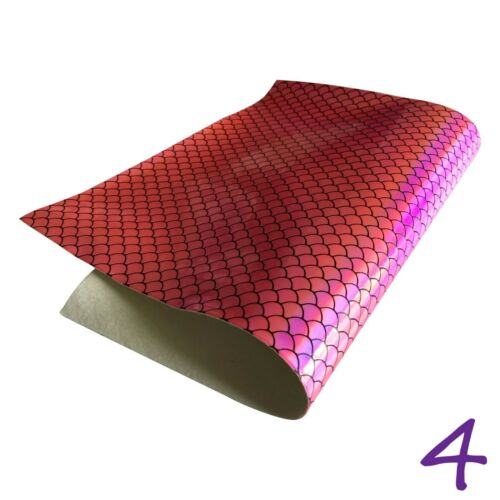 Mermaid Scales Metallic Holographic PU Leather Fabric Material A4 Sheets #309