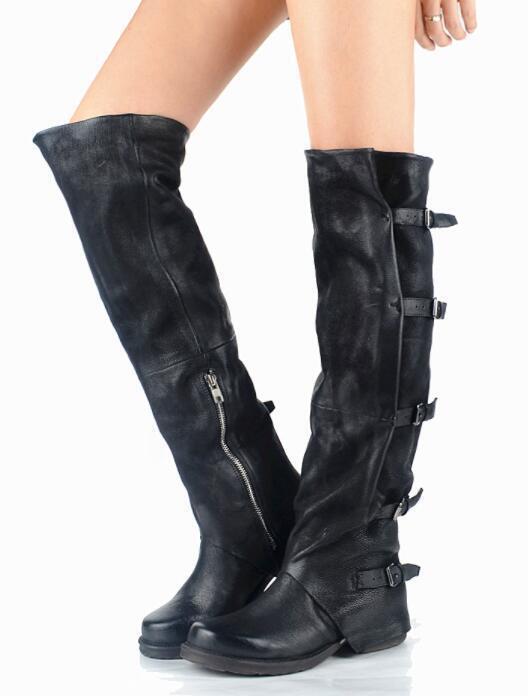 Women Geniune Suede Leather knight Zip Buckle Knee High Boot Cowboy shoes Runway