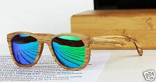 New Wood Square Zebra frame Green Blue mirror Sunglasses Revo Polarized  BOXED