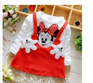 Abito-tunica-manica-lunga-bambina-6-mesi-4-anni-Disney-Minnie-mouse-gress-girl