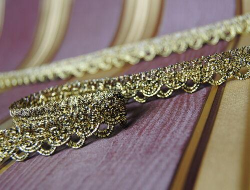 Luxus Metallisiertes Zierband 15 mm Meterware Gold /& Schwarz ab 1m//5m-5/%//10m-10/%