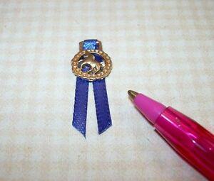 Miniature-Gold-HORSE-Badge-Award-w-Ribbon-DOLLHOUSE-Miniatures-1-12-Scale