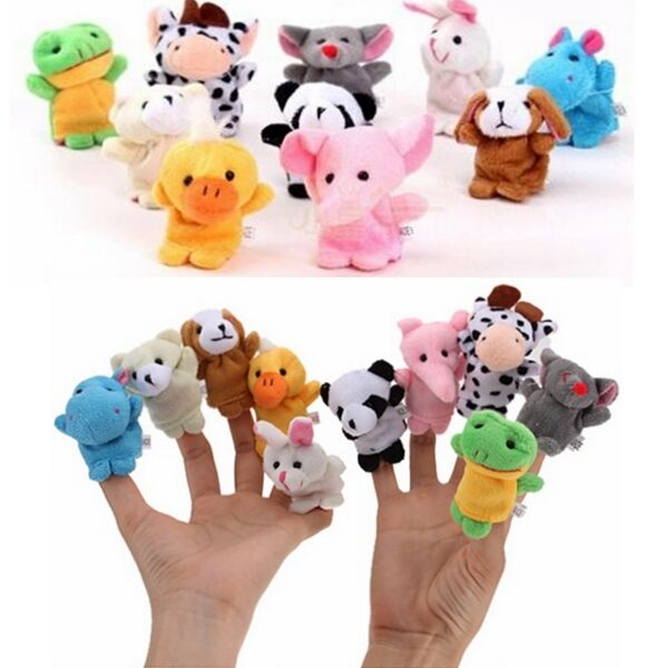10pcs Cartoon Animal Finger Puppets Cloth Doll Baby Family Educational Hand Toy