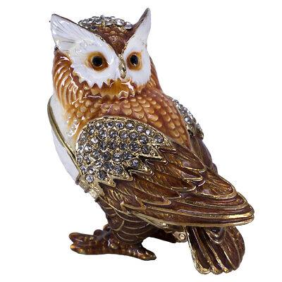 NEW TRINKET BOX OWL Pewter Bejeweled Austrian Crystals Figurine Orange CUTE