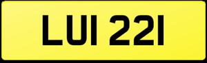 3X3 DATELESS REGISTRATION NUMBER PLATE LUI 221 / LU LOUIS LOU LUIGI LUCY LOUISE