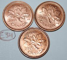 Canada 2006, 2006L Steel, 2006L Zinc 1 Cent  One Canadian Penny Coin Lot #E34