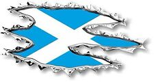 Vinyl sticker/decal 120mm Scotland ripped torn metal effect flag - facing left