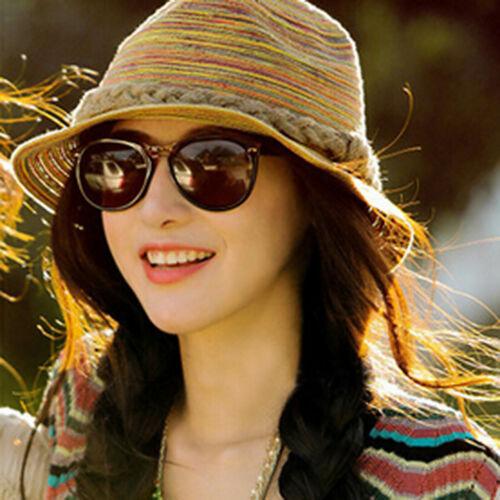 NEU Sonnenhut Damen Strand-Hut Strohhut Vielfärbig Sommer Sonnenschutz Hüte