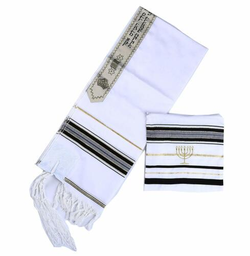 """Star Gifts Acrylic Tallit Prayer Shawl in Black with Gold Size 22/"""" L X 72/"""" W wit"""