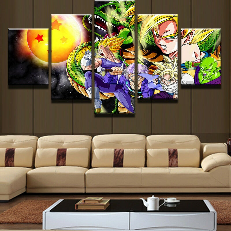 Goku Dragon Ball Cartoon Characters Fighter Poster 5 Panel Canvas Print Wall Art