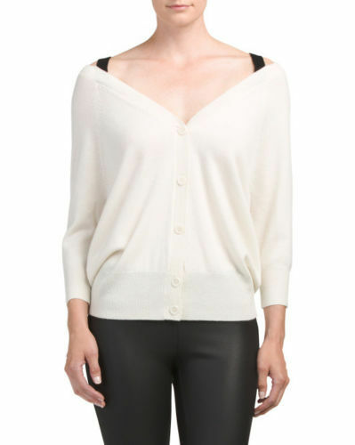 NWT Theory Saline B Ivory Cashmere Cardigan Off-the-Shoulder Sweater sz S