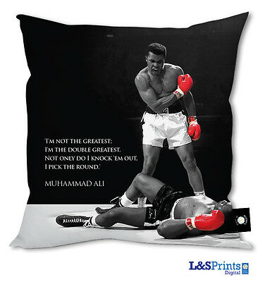 """MUHAMMED ALI BOXING I PICK THE ROUND QUOTE DESIGN 18"""" CUSHION GREAT GIFT"""