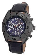 Reloj de Hombre Mens Black Automatic Mechanical Watch Big Blue Dial Leather Band