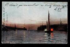 1907 Tuck ships les Jetees au Crepuscule Boulogne France postcard