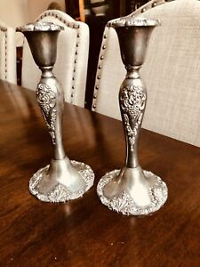 Vintage-Godinger-Silver-Art-Co-Silverplate-Candle-Holders-8-5-034-Baroque-Grape-2