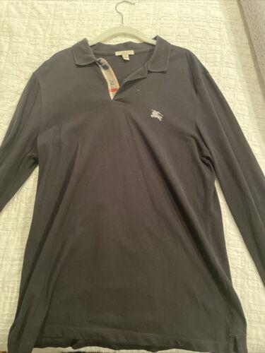 burberry men's long sleeve Black polo (size L)