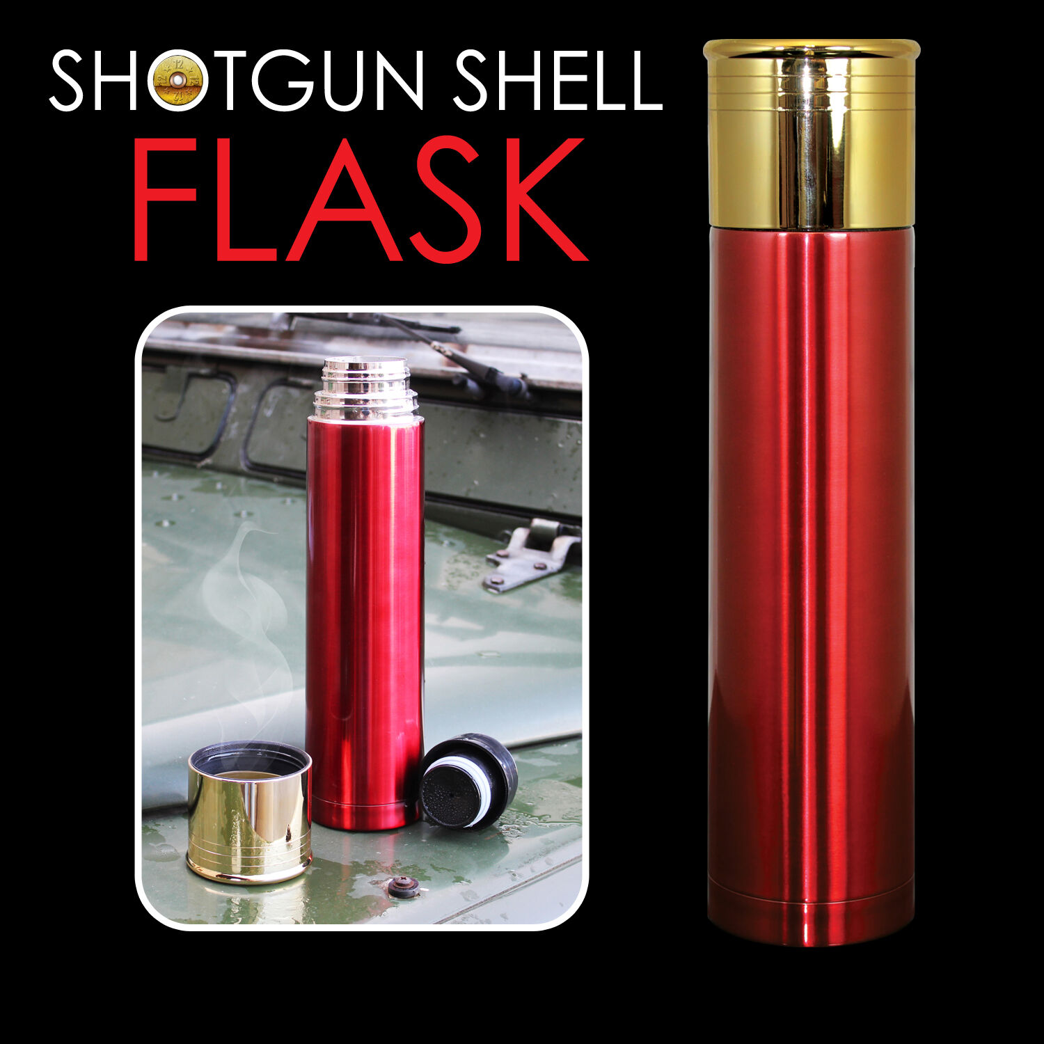 Shotgun Shell Cartridge Flask Thermos Drink Hunting Mens Gift Gadget Fathers Day