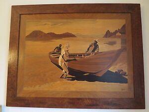 RARE-AFRICANISME-GRANDE-MARQUETERIE-SCENE-DE-GENRE-SIGNE-ENCADRE-64-x-83-cm