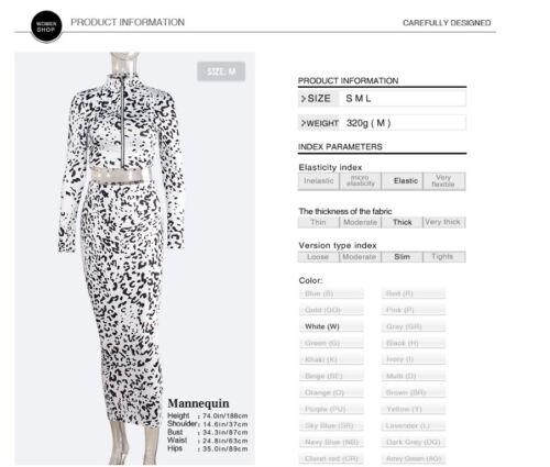 Neck Long Sleeve  High Waist Party Long Dress #S16 Women 2 Piece Set Leopard O
