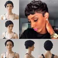 100% Remy Human Hair Short Wig Mommy Finger Wavy Women's Full Wigs Natural Black