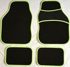 Tappetini neri con fluorescente verde Trim per Subaru Impreza Justy Legacy XV