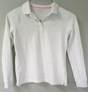 Details about White Vineyard Vines girl white long sleeve Shirt Polo Collar Large 14 Pink Wha