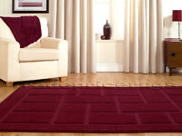 X Large 240x340 Aubergine Purple Square Blocks Thick Discount Clearance Rug Sale